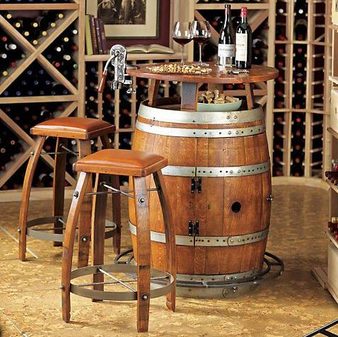 vintage oak wine barrel turned home bar adds a touch of class to your crappy pad. Black Bedroom Furniture Sets. Home Design Ideas
