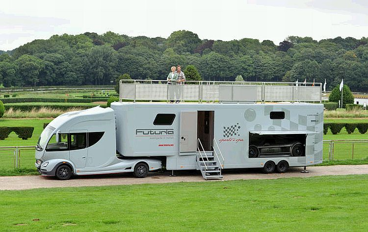 Futuria sports spa is a motorhome with a yacht like roof for Rv with garage