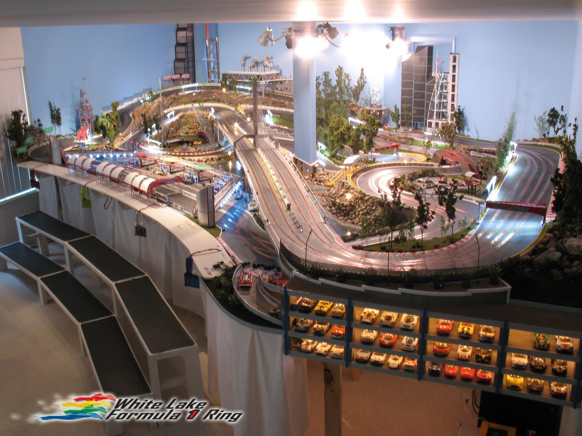 White lake f1 ring is a seriously elaborate slot car track for Popular house tracks