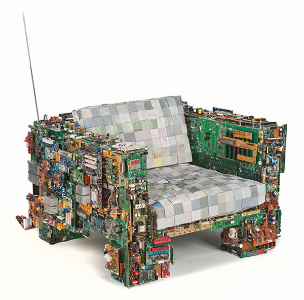 Binary collection features semi functional furniture for Cool recycled stuff