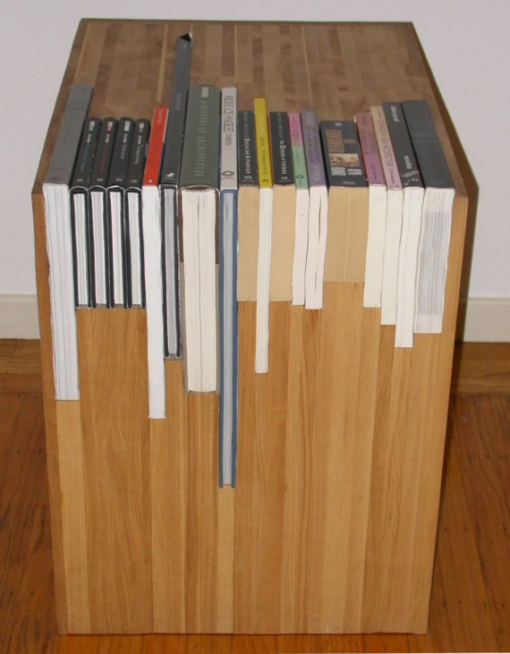 A custom side table with a custom bookshelf for Cool side tables