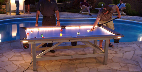 Outdoor pool table features built in lighting for for Convert indoor pool table to outdoor