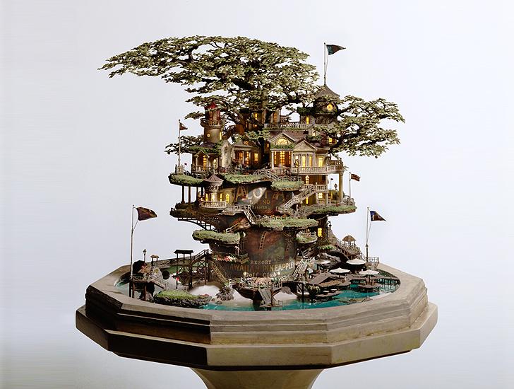 Takanori aiba s gorgeous bonsai tree castles for Cool bonsai tree