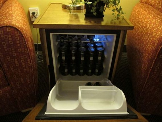 Man Table Hides A Mini Fridge Behind The Drawers