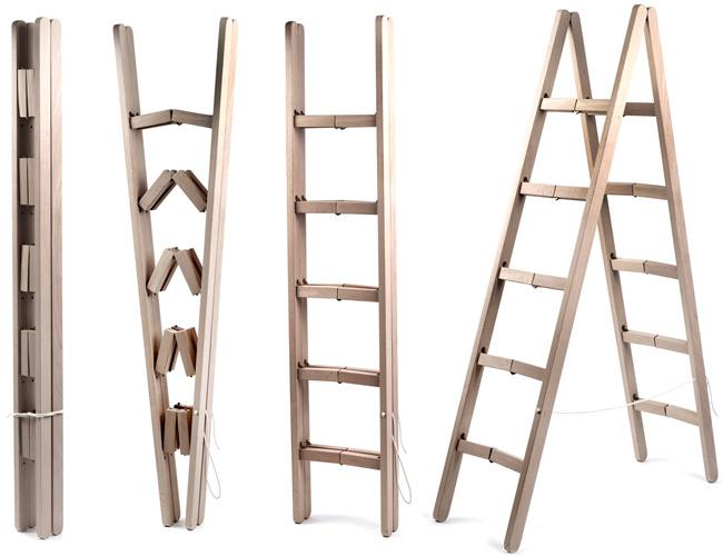 Corner Ladder Folds Into Super Compact Bar During Storage