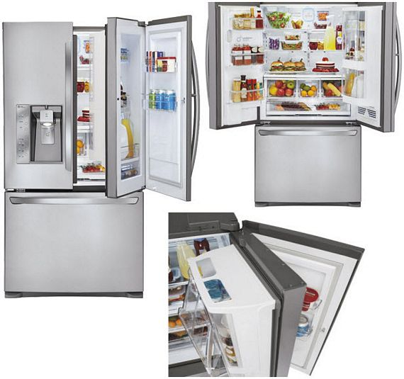 lg s new fridge has a door inside the door. Black Bedroom Furniture Sets. Home Design Ideas