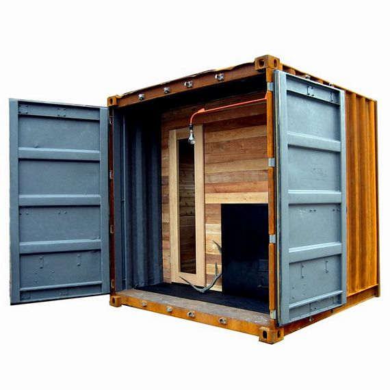 sauna box is a self contained steam room in a shipping container. Black Bedroom Furniture Sets. Home Design Ideas