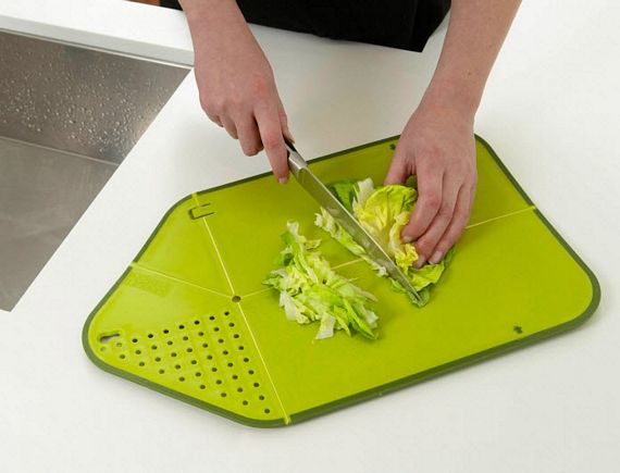 Rinse chop plus combines cutting board and colander - Cutting board with prep bowls ...