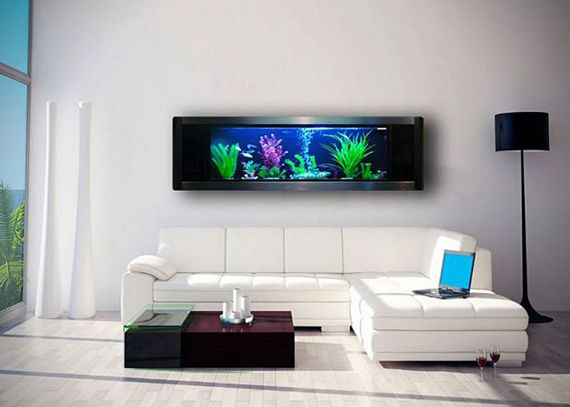 Got a large empty wall put a panoramic wall aquarium on it for Avo fish tank
