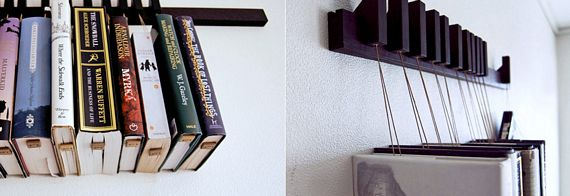 This unique book rack hangs your books on the wall - Things to hang on walls ...