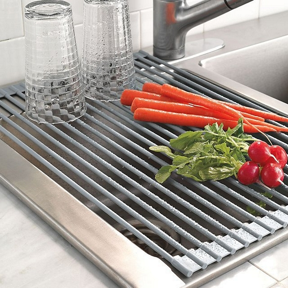 This roll up drying rack will save precious space in the kitchen - Kitchen sink drying rack ...