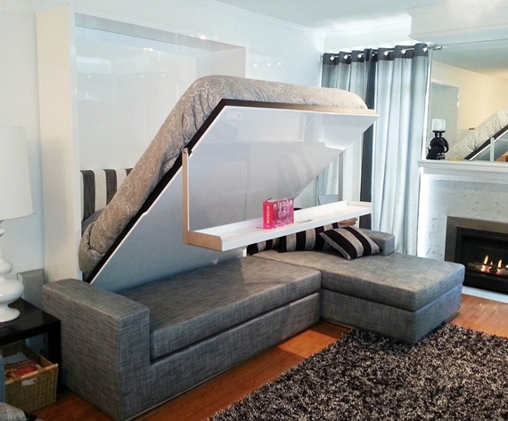 This cleverly designed murphy sofa float is a bed a wall and a shelf also Murphy bed over couch