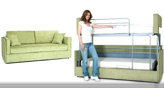 Coupe sofa transforms into a bunk bed in seconds Couches that turn into bunk beds for sale