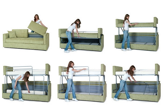 Coupe sofa transforms into a bunk bed in seconds for Sofa que vira beliche