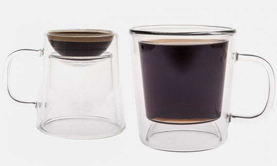 Double Shot Coffee Cup Combines Mug And Espresso Cup In One