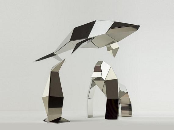 These poligon metal sheets fold into animal sculptures