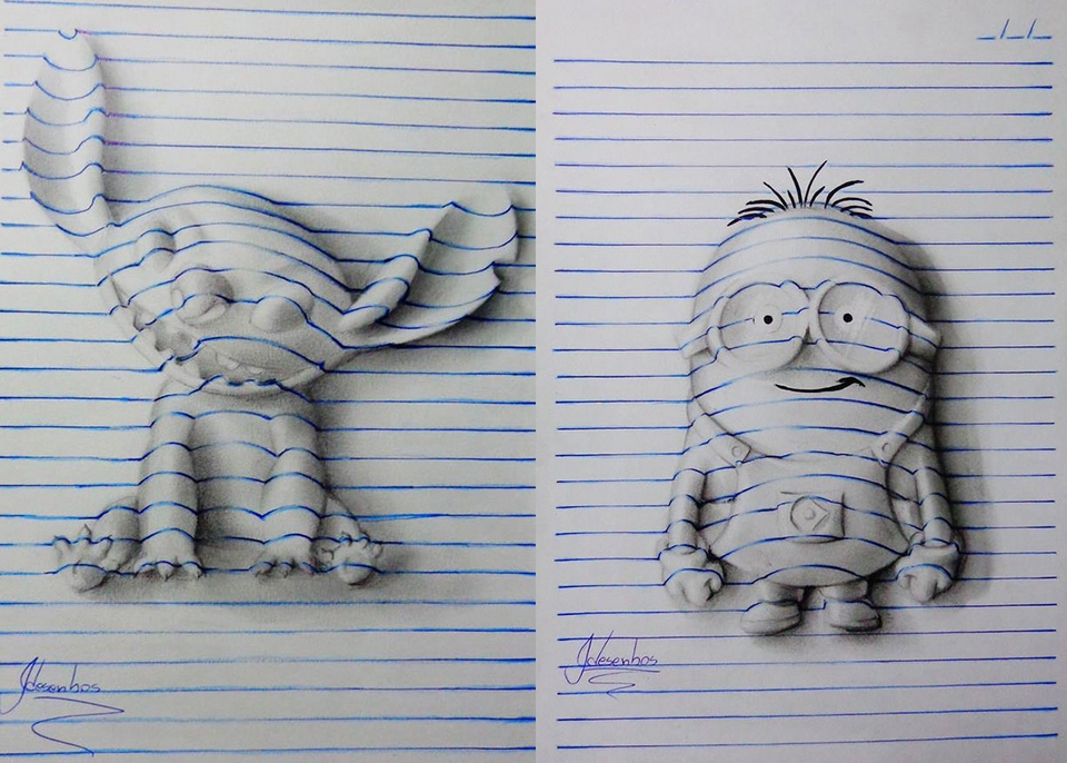 D Lined Paper Drawings : João carvalho s d notepad art