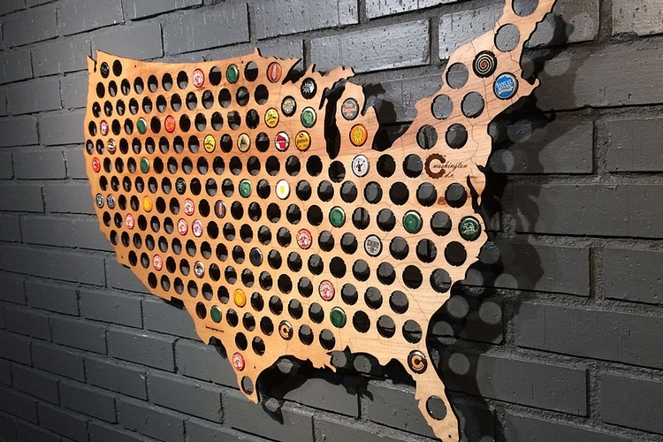 Craft Beer Bottle Cap Map