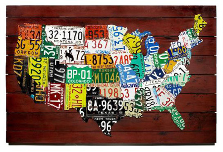 Us Map With License Plates Wall Art: US Map Made From State License Plates