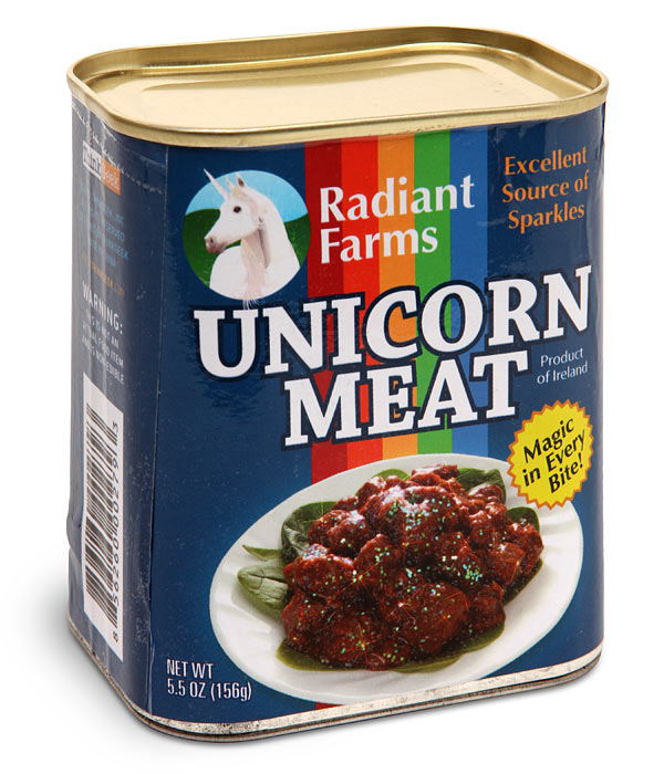 Christmas Dinner In A Tin.Canned Unicorn Meat Makes Christmas Dinner Magical
