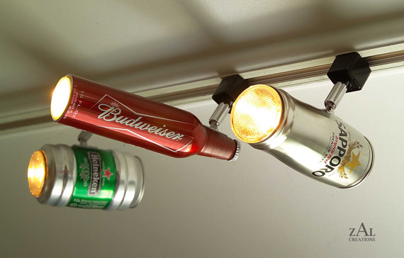 Beer Can Track Lights Coolest Lighting For A Home Bar Ever