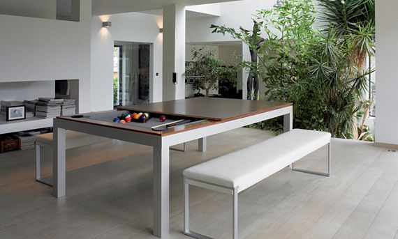 this classy dining table hides a pool table underneath rh coolthings com  hell's kitchen pool table
