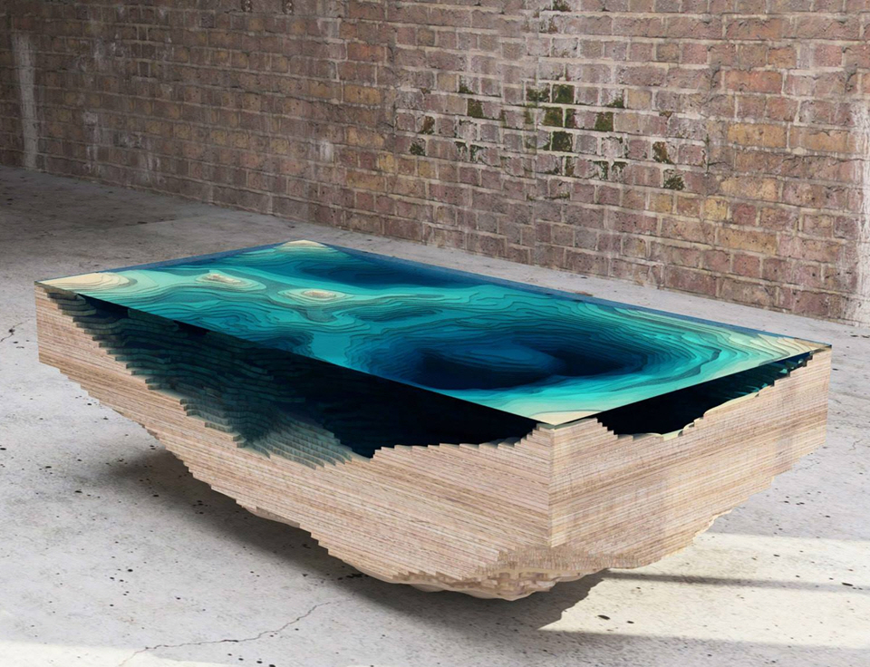How Does Stacking Layers Of Gl And Wood End Up Turning Into This Gorgeous Abyss Table