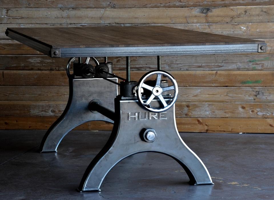 Hure Crank Table Brings Industrial, Industrial Dining Room Table