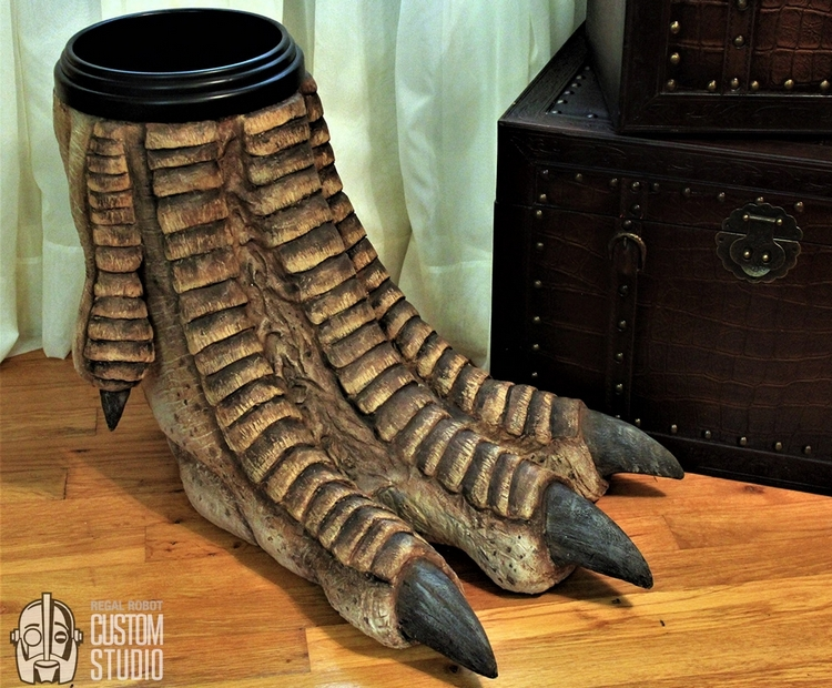 regal-robot-faux-dinosaur-foot-waste-basket-1